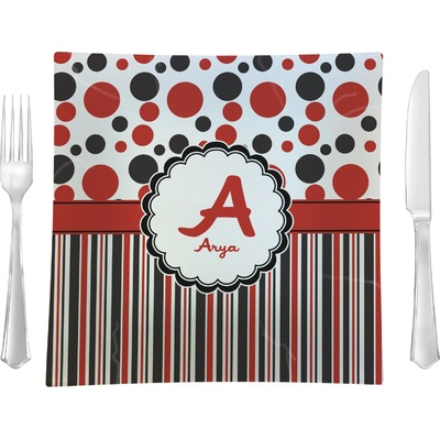 """Red & Black Dots & Stripes 9.5"""" Glass Square Lunch / Dinner Plate- Single or Set of 4 (Personalized)"""