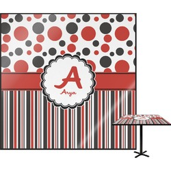 Red & Black Dots & Stripes Square Table Top (Personalized)