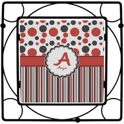Red & Black Dots & Stripes Square Trivet (Personalized)
