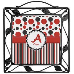 Red & Black Dots & Stripes Trivet (Personalized)