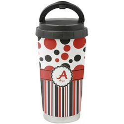 Red & Black Dots & Stripes Stainless Steel Coffee Tumbler (Personalized)