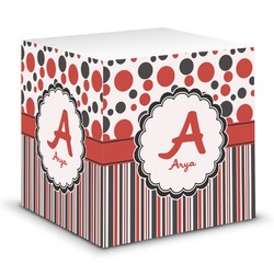 Red & Black Dots & Stripes Sticky Note Cube (Personalized)