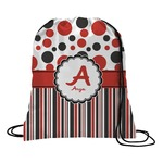 Red & Black Dots & Stripes Drawstring Backpack (Personalized)