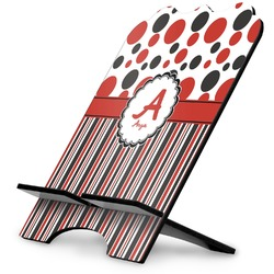 Red & Black Dots & Stripes Stylized Tablet Stand (Personalized)