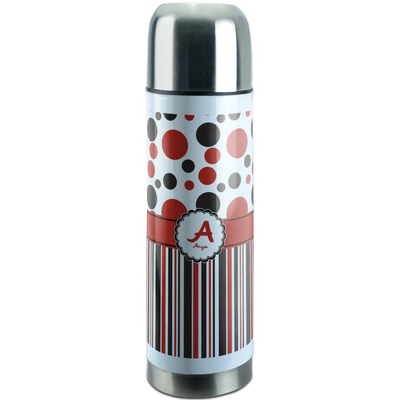 Red & Black Dots & Stripes Stainless Steel Thermos (Personalized)
