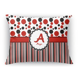 Red & Black Dots & Stripes Rectangular Throw Pillow Case (Personalized)