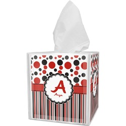 Red & Black Dots & Stripes Tissue Box Cover (Personalized)