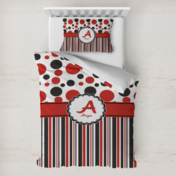 Red & Black Dots & Stripes Toddler Bedding w/ Name and Initial