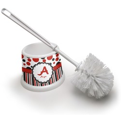 Red & Black Dots & Stripes Toilet Brush (Personalized)