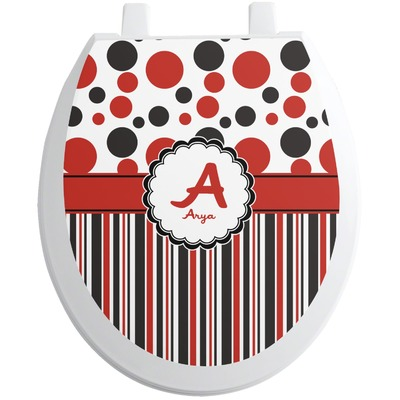 Red & Black Dots & Stripes Toilet Seat Decal (Personalized)