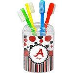 Red & Black Dots & Stripes Toothbrush Holder (Personalized)