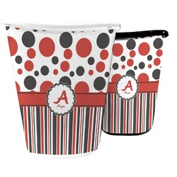 Red & Black Dots & Stripes Waste Basket (Personalized)