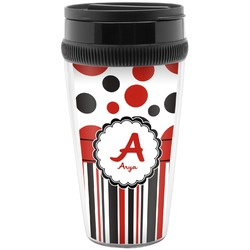 Red & Black Dots & Stripes Travel Mug (Personalized)