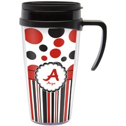 Red & Black Dots & Stripes Travel Mug with Handle (Personalized)
