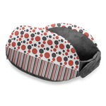 Red & Black Dots & Stripes Travel Neck Pillow