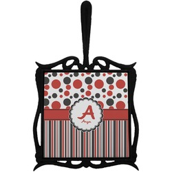 Red & Black Dots & Stripes Trivet with Handle (Personalized)