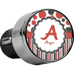Red & Black Dots & Stripes USB Car Charger (Personalized)
