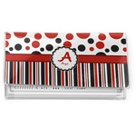 Red & Black Dots & Stripes Vinyl Checkbook Cover (Personalized)