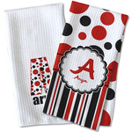 Red & Black Dots & Stripes Waffle Weave Kitchen Towel (Personalized)