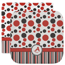 Red & Black Dots & Stripes Facecloth / Wash Cloth (Personalized)