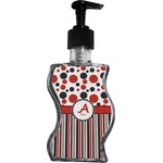 Red & Black Dots & Stripes Wave Bottle Soap / Lotion Dispenser (Personalized)