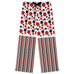 Red & Black Dots & Stripes Womens Pajama Pants (Personalized)