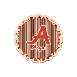 Red & Black Dots & Stripes Genuine Maple or Cherry Wood Sticker (Personalized)