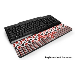 Red & Black Dots & Stripes Keyboard Wrist Rest (Personalized)