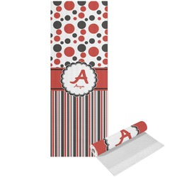 Red & Black Dots & Stripes Yoga Mat - Printed Front (Personalized)