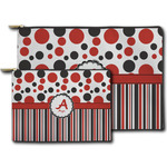 Red & Black Dots & Stripes Zipper Pouch (Personalized)