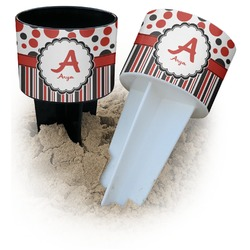 Red & Black Dots & Stripes Beach Spiker Drink Holder (Personalized)