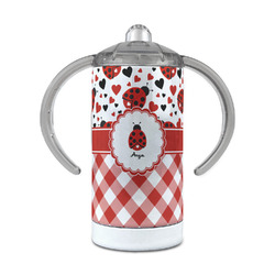 Ladybugs & Gingham 12 oz Stainless Steel Sippy Cup (Personalized)