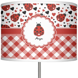 "Ladybugs & Gingham 13"" Drum Lamp Shade (Personalized)"