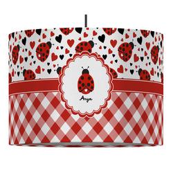 Ladybugs & Gingham Drum Pendant Lamp (Personalized)