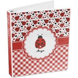 Ladybugs & Gingham 3-Ring Binder (Personalized)