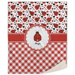 Ladybugs & Gingham Sherpa Throw Blanket (Personalized)