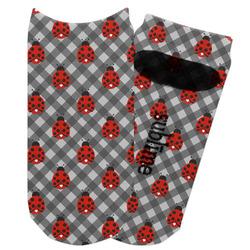 Ladybugs & Gingham Adult Ankle Socks (Personalized)