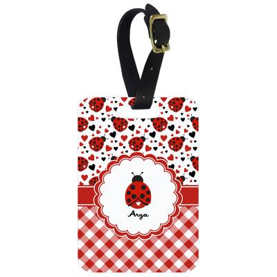 Ladybugs & Gingham Metal Luggage Tag w/ Name or Text