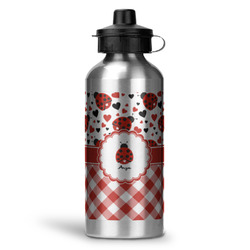 Ladybugs & Gingham Water Bottle - Aluminum - 20 oz (Personalized)