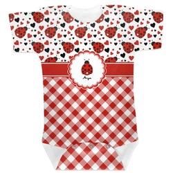 Ladybugs & Gingham Baby Bodysuit (Personalized)