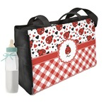 Ladybugs & Gingham Diaper Bag w/ Name or Text
