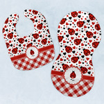 Ladybugs & Gingham Baby Bib & Burp Set w/ Name or Text