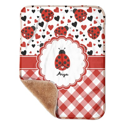 "Ladybugs & Gingham Sherpa Baby Blanket 30"" x 40"" (Personalized)"