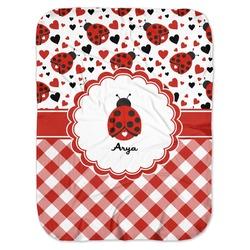 Ladybugs & Gingham Baby Swaddling Blanket (Personalized)