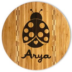 Ladybugs & Gingham Bamboo Cutting Board (Personalized)