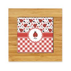 Ladybugs & Gingham Bamboo Trivet with Ceramic Tile Insert (Personalized)