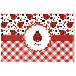 Ladybugs & Gingham Woven Mat (Personalized)