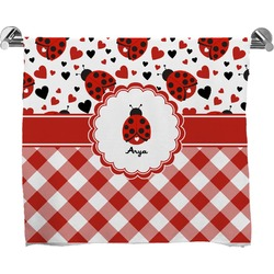 Ladybugs & Gingham Full Print Bath Towel (Personalized)