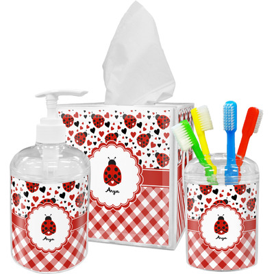 Ladybugs & Gingham Acrylic Bathroom Accessories Set w/ Name or Text