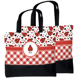 Ladybugs & Gingham Beach Tote Bag (Personalized)
